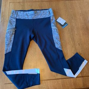 ATHLETA Blue/White Colorblock Polar Racer Tight